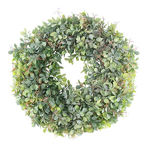 MHMJON Artificial Boxwood Wreath, 17 Inches Fake Greenery Wreath for Front Door Decor Home Office Wall Window Wedding and Farmhouse Decorations
