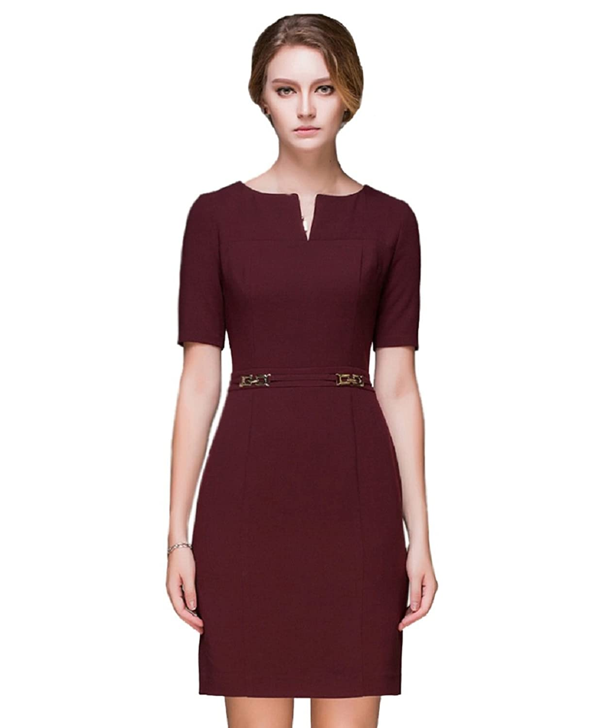 Newland Women's Round Neck Short Sleeve Thick Casual Dress US 8 Wine Red