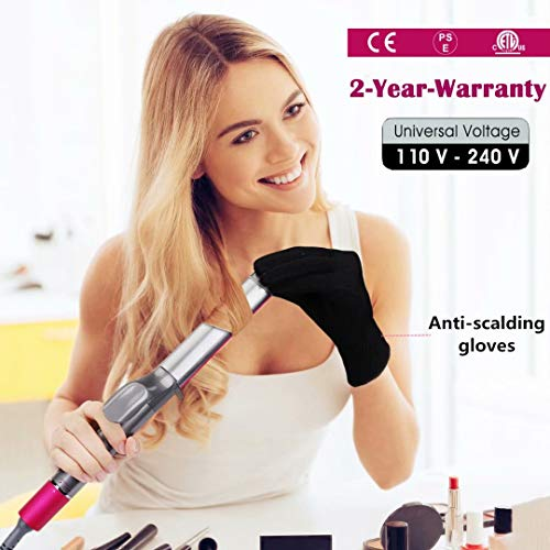 Hair Curler, Morpilot 32mm Hair Curling Iron Automatic Curling Tongs Ceramic Hair Curling Wand, Adjustable Temperature from 80°C to 210°C with LCD Display, PTC Technology, Glove, Dual Voltage