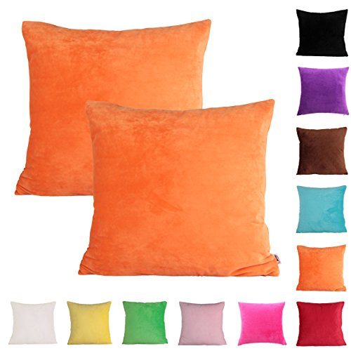 Queenie - 2 Pcs Solid Color Chenille Decorative Pillowcase Cushion Cover for Sofa Throw Pillow Case Available in 11 Colors & 6 Sizes (24 x 24 inch (60 x 60 cm), Orange)