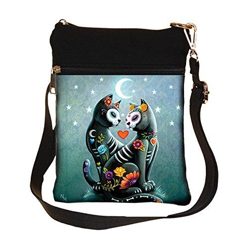 Starry Night Sugar Skull Cat Shoulder Bag