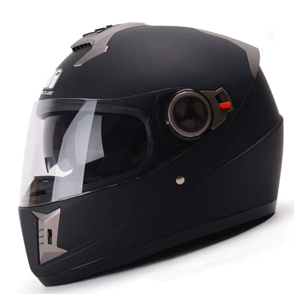 Matte Black ZXW Helmet  Winter Motorcycle AntiFog Double Lens Helmet for Men and Women to Keep Warm Full Face Helmet