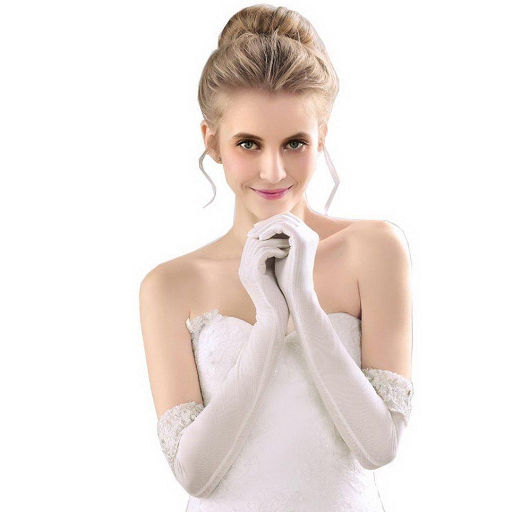 Long Wedding Gloves for Women White Color With Lace and Pearl on sleeve