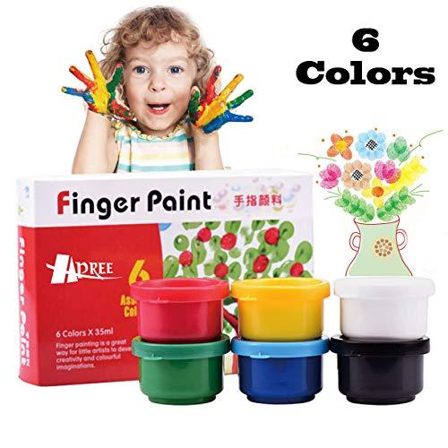 (Hapree 6 Colors Finger Paint, Washable Non-Toxic Kids Paint Set, Finger paints Kit for Toddlers, 6 x 35 ml (1.18 fl. oz))