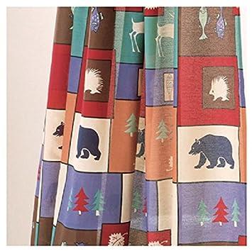 The Woods Shower Curtain U0026 Matching Window Valance   Bear Moose Cabin Lodge Bathroom  Decor