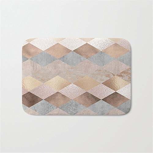 Argyle Roses (Ninjz8 Copper and Blush Rose Gold Marble Argyle Doormat Bath Door Mat (30
