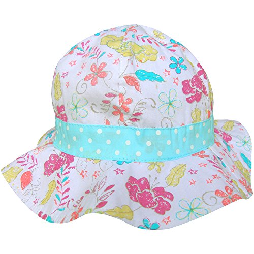 Baby Girl's Bucket Style Pretty Floral Summer Sun Beach Hat (6-12 Months (48cm), Delicate Flowers)