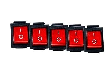 Einbau-Wippenschalter 2-polig EIN//AUS 16A//250V rot beleuchtet Wasserschutzkappe