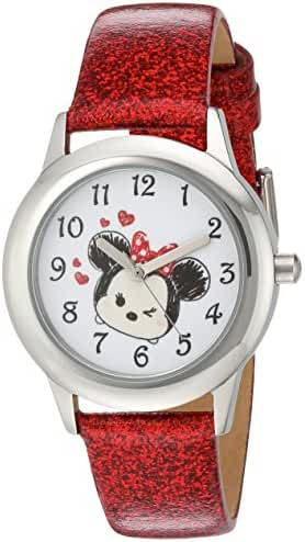 Disney Girl's 'Tsum Tsum' Quartz Stainless Steel Casual Watch, Color:Red (Model: WDS000122)