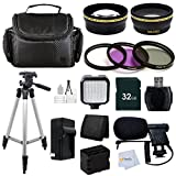 Advanced Accessory Kit for Panasonic HC-X920 3D Ready HD 3MOS Digital Camcorder with Wi-fi (black) Includes: 32GB Memory Card + Reader + Battery + 0.43X Wide Angle & 2.2X Telephoto Lens & more