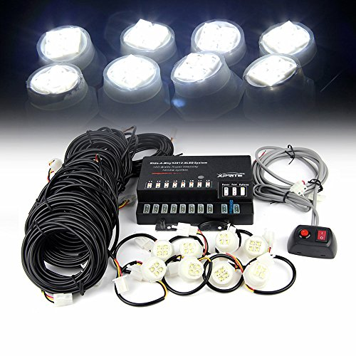 Xprite 160W 8 LED Bulbs Hide-A-Way Emergency Hazard Warning Strobe Lights - White