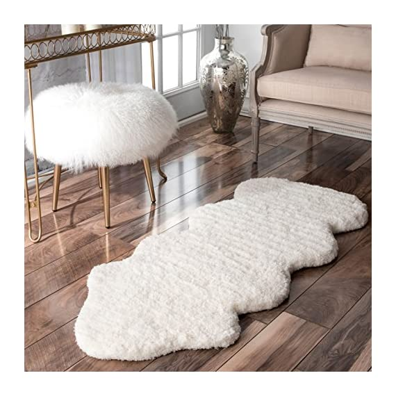 "nuLOOM Faux Sheepskin Matix Shag Rug, 2' x 4' 5"", Natural - Style: Shags Color: Natural Material: 100% Polyester - living-room-soft-furnishings, living-room, area-rugs - 513qK%2BO%2BryL. SS570  -"