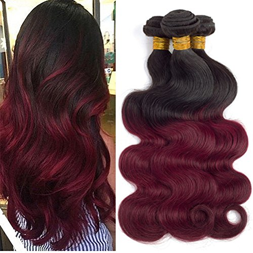 T1B/99J Dark Red Ombre Body Wave Human Hair 3 Bundles Extensions Ombre Human Hair Two Tone Bundles Burgundy Soft Untangled Thick Smooth Silky No Smell - Delivery One Fedex Day