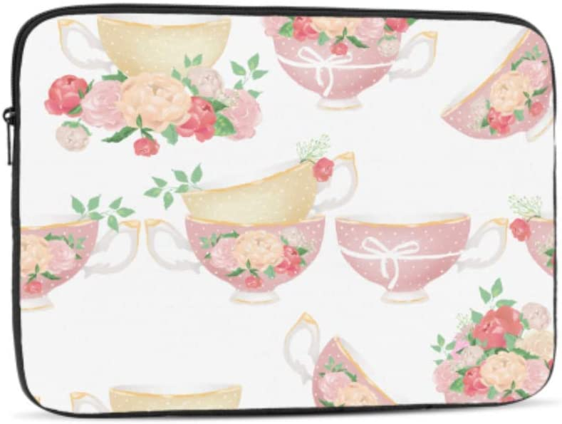 Designed to Fit Any Laptop//Notebook//ultrabook//MacBook with Display Size 11.6 Inches Beautiful Pink Beige Porcelain Tea Cups Pattern Neoprene Sleeve Pouch Case Bag for 11.6 Inch Laptop Computer