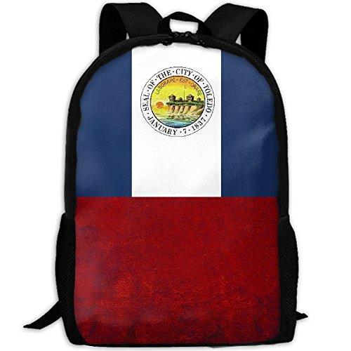 Flag Of Toledo Ohio Unique Outdoor Shoulders Bag Fabric Backpack Multipurpose Daypacks For Adult