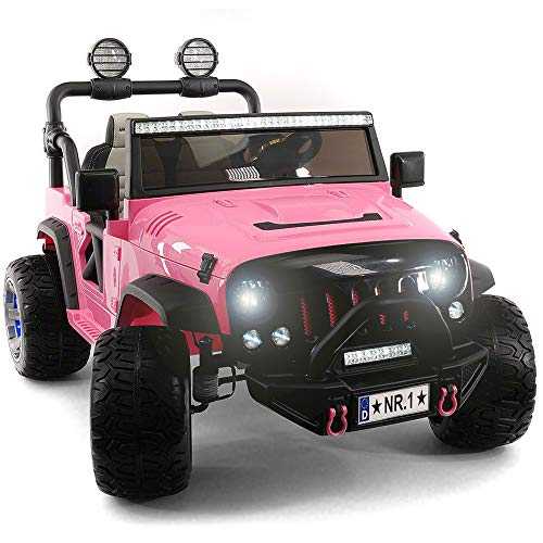 - 2019 Two Seater Pink Ride On Truck w/ Remote Control for Kids | Large 12V Power Battery Licensed Kid Car to Drive with 3 Speeds, Leather Seat, Foam Rubber Tires