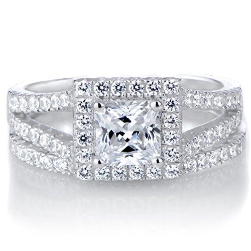 Kettie's Princess Cut CZ Halo Wedding Ring Set by Emitations.com