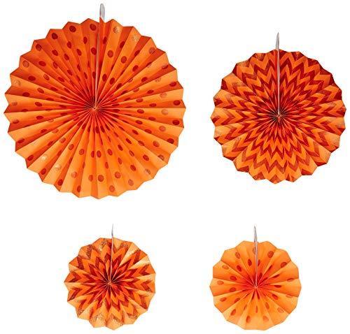 Orange Peel Glitter Paper Fans   Party Decor