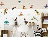 I-love-Wandtattoo WAS-12669 Children's room wall tattoo set''Colourful flock of birds with flamingo, peacock and parrot in abstract form'' boys room girls room deco figures baby room garden animals