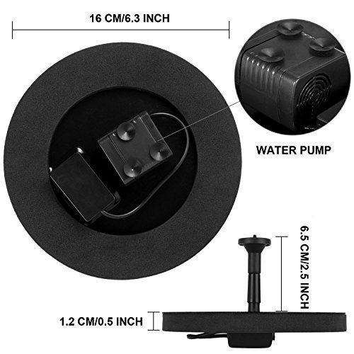 ROADTEC Solar Fountain Pump 1.4W Free Standing Water Fountain Pump Kit for Bird Bath, Fish Tank, Small Pond and Garden