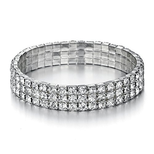 JEWMAY Yumei Jewelry 3 Strand Rhinestone Stretch Bracelet Tennis Bracelet Sparkling Bridal Bangle Anklet