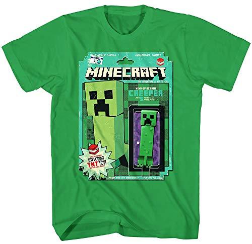 Minecraft Boys' Shirt Creeper Action Figure Overworld Series 1 Distressed T-Shirt (Small) Green -