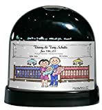 Personalized Friendly Folks Cartoon Caricature Snow Globe Gift: New Baby, Twins - Girl & Boy Great for baby shower gift, birth announcement, nursery décor, keepsake