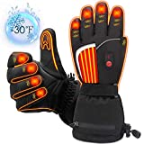 Men Women Electric Heated Gloves, Rabbitroom Upgraded 7.4 Volt Rechargeable Battery Gloves Electric
