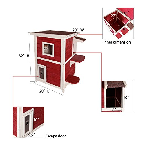 Petsfit-20Lx20Wx32H-Outdoor-Cat-ShelterCat-House-Condo-With-Escape-Door-Red