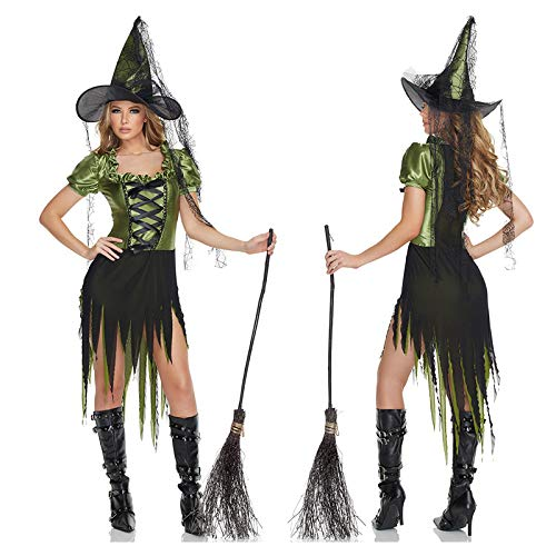 Simmia Halloween Costumes Halloween Witch Costume Jade Witch Cosplay Anime Witch Nightclub Bar Party, 1539, XL -