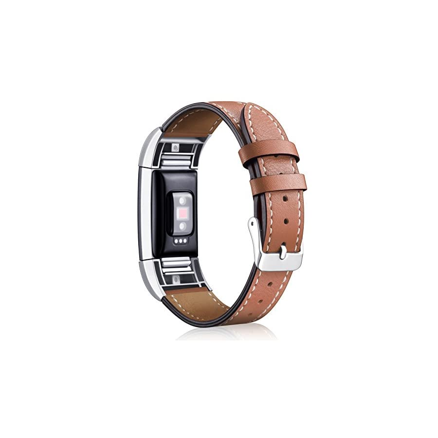 Hotodeal Band Compatible Fitbit Charge 2 Replacement Bands, Classic Genuine Leather Wristband Metal Connectors, Fitness Strap Women Men Small Large Brown