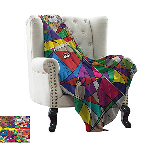Abstract, Custom Design Cozy Flannel Blanket, Abstract Woman Face Illustration Behind Stained Glass Styled Human Facial Feature, Lightweight Blanket Extra Big, (W90 x L90 Inch Multicolor Boston Red Sox Stained Glass