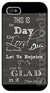 For Ipod Touch 4 Case Cover Bible Verse - This is the day the Lord has made. Let us rejoice and be glad in it. Psalm 118 - black plastic case / Verses, Inspirational and Motivational