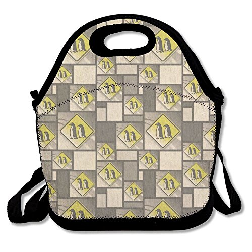 IEIDJFF Penguins Crossing Road Stylized Yellow Grey Caution Sign Handbag Fashion Playful For Man