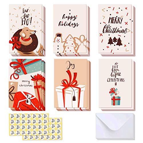 48-Pack Christmas Cards Assortment, Ohuhu Blank Side Note Cards W/48 Envelopes & 48 Stickers for Gifts Box, Xmas Winter Holiday Cards of 6 Designs, Dog, Cake, Snowman, Christmas Trees