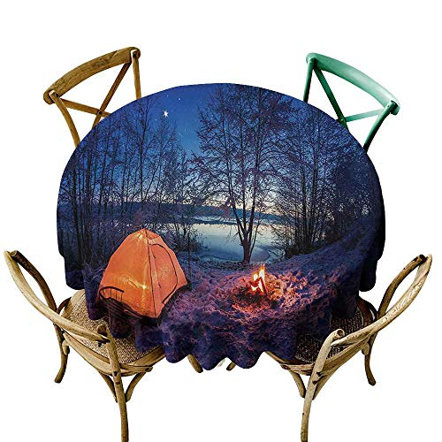 Oil-proof and leak-proof tablecloth Forest Dark Night Camping Tent Photo in the Winter on the Snow Covered Lands by the Lake Waterproof/Oil-Proof/Spill-Proof Tabletop Protector D51