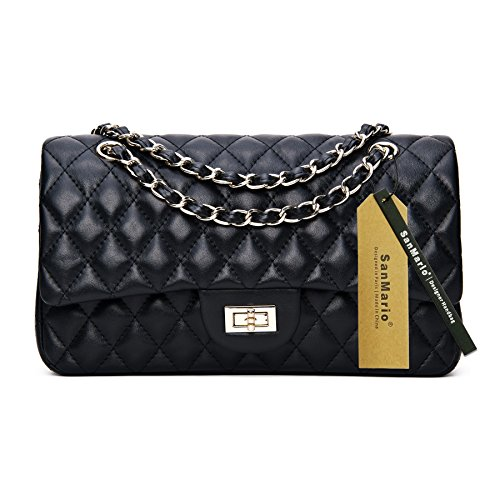 Lambskin Double Flap - SanMario Designer Handbag Lambskin Classic Quilted Grained Double Flap Gold Tone Metal Chain Women's Crossbody Shoulder Bag Black 25.5cm/10