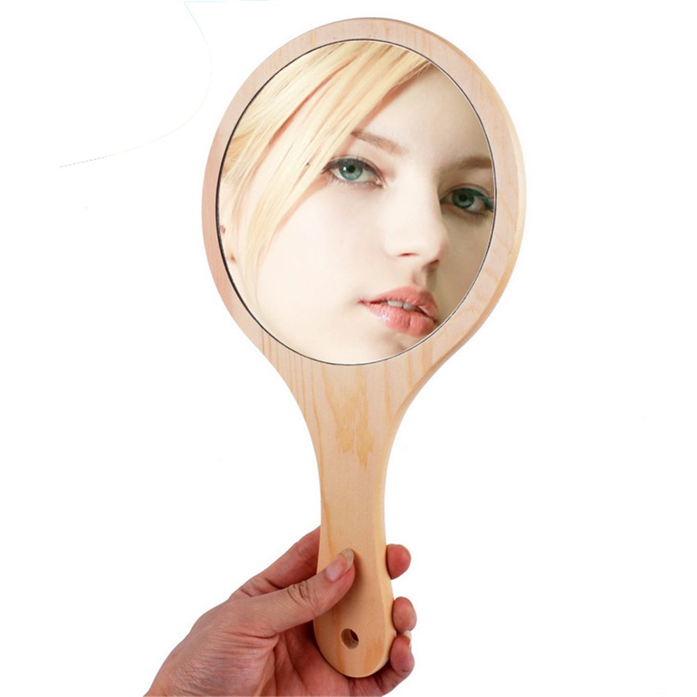 Moion Handmade Wooden Hand Mirror Women Makeup Mirrors, Vintage Portable Hanging Handle Mirrors