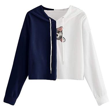 Vectry Rebajas Mujer Sudadera con Capucha Sudadera Corta Sudadera con Patrón De Animal Camiseta con Capucha Camiseta con Manga Larga para Mujer Sudadera: ...