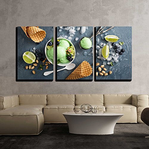 wall26 - 3 Piece Canvas Wall Art - Green Refreshing Lime Pistachio Ice Cream in White Bowl Overhead Shot - Modern Home Decor Stretched and Framed Ready to Hang - 16