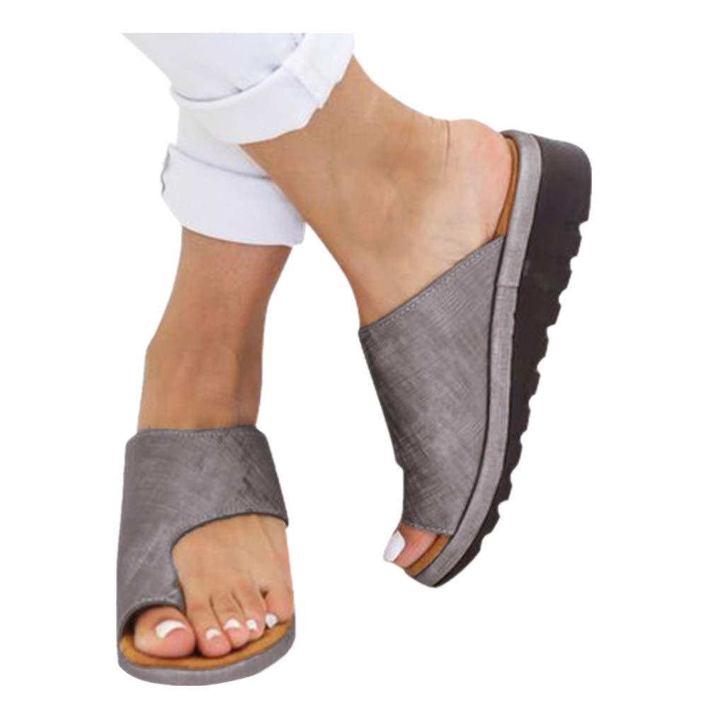 Platform Sandals for Women- 2019 New Comfort Flip Flops Wedge Shoes Flats Beach Casual Slippers (Gray -8, EU:40/US:7.5)