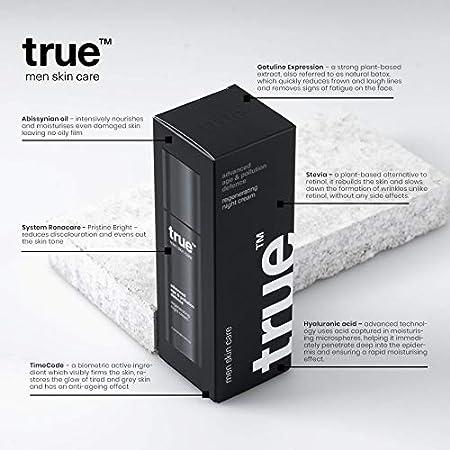 Crema facial hombre true day & night Antiedad Crema de día hidratante 6ml + Crema de noche regeneradora 6ml - 100% vegano y certificado TÜV