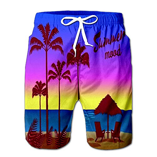 (Summer Mood Poster Palm Trees Umbrella Two Chaise Men Swimwear Volley Pants Pocket XXL)