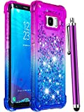 CAIYUNL for Galaxy S8 Glitter Case,Galaxy S8 Case, Luxury Bling Liquid Sparkle Floating Clear TPU Bumper Cute Girly Women Girls Protective Phone Case Shockproof Cover for Samsung Galaxy S8-Purple/Blue