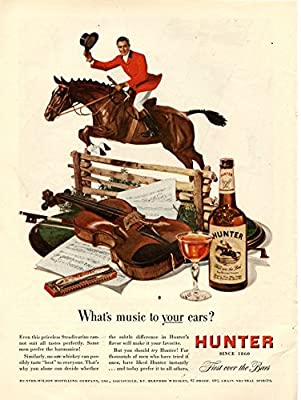 "Vintage 1948 Hunter Blended Whiskey Magazine Ad- ""What's music to your ears?"""