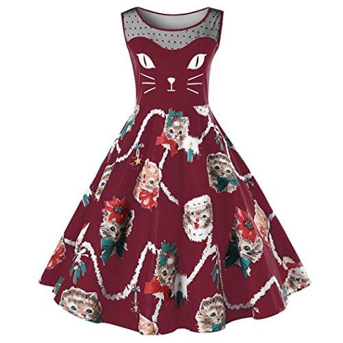 LHWY Kleid Damen Elegant Frauen Womens Cat Sleeveless Druck Kleid ...