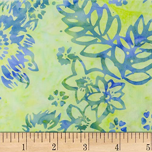 Northcott Banyan Batik Boho Beach Lime Green/Blue Fabric by The Yard