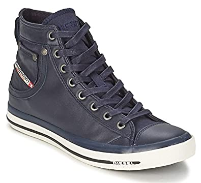 1861a067d110 DIESEL Exposure iv Dark Navy New Womens Leather Hi Top Trainers Shoes  Boots  Amazon.co.uk  Shoes   Bags