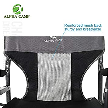 ALPHA CAMP Oversized Camping Director Chair Heavy Duty Frame Collapsible Recliner with Side Table, Supports 300 lbs