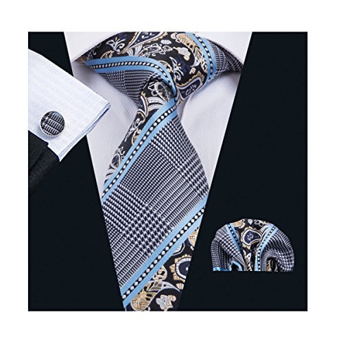 Dubulle Ties Set for Men with Pocket Square Cufflinks Necktie Tie Set Fashion Paisley Tie Classic Designer Woven Silk Necktie Blue Grey Ties